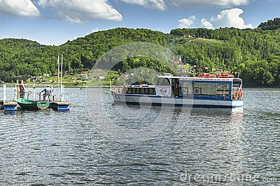 Small touristic ship name Rak on the Lake in Roznow , Poland. Europe.