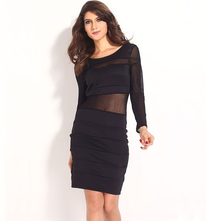 Sexy Mesh Inserts Black Long Sleeved Bodycon Dress
