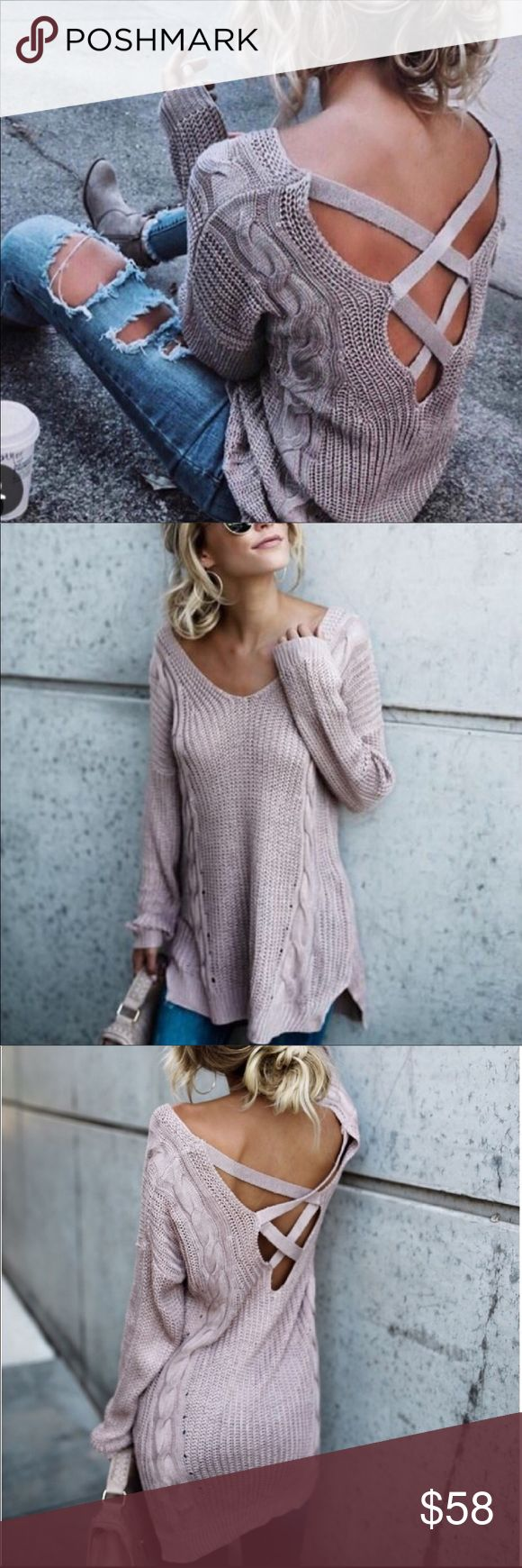 ✨New Arrival✨Loose Knit Criss Cross Mauve Sweater 🖤Gorgeous Criss Cross Mauve Sweater , loose knit, light weight made of breathable material so it's very comfy! Super trendy this season! Cotton/Polyester Blend   ▪️Only have one medium in stock!   ✔️Price is firm unless bundled   🛍Bundle 2 + items to receive a 10% discount🛍 Boutique Sweaters