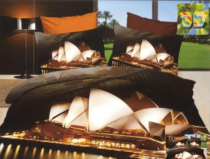 Bawełniana pościel w kolorze brązowym z operą w Sydney