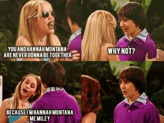 Hannah Montana. I really really really miss this. I remember seeing every.single.episode. And now she has gone bad. I miss the old Miley.