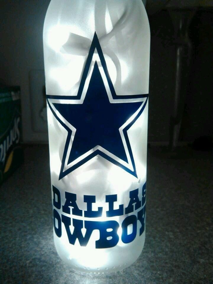 #NFL #Dallas Cowboys Lighted Wine Bottle! Can Be Customized! Handmade To Order! from $12.0 (Wine Bottle Lights)