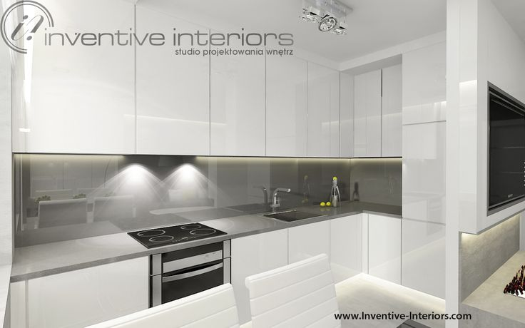 Projekt kuchni Inventive Interiors  Biała minimalistyczna kuchnia z szarym b   # Kuchnia Kremowa Z Szarym Blatem