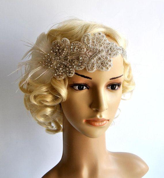 Enca strass fascia Gatsby Fascia di nozze Crystal Headband
