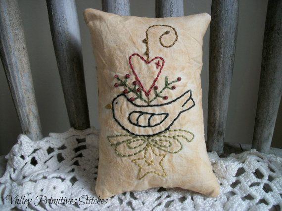 Decorative Primitive Pillows : Primitive Decorative Pillow, Heart, Crow, Star, Hand Stitched, Ornie, Tuck Primitives, Crows ...