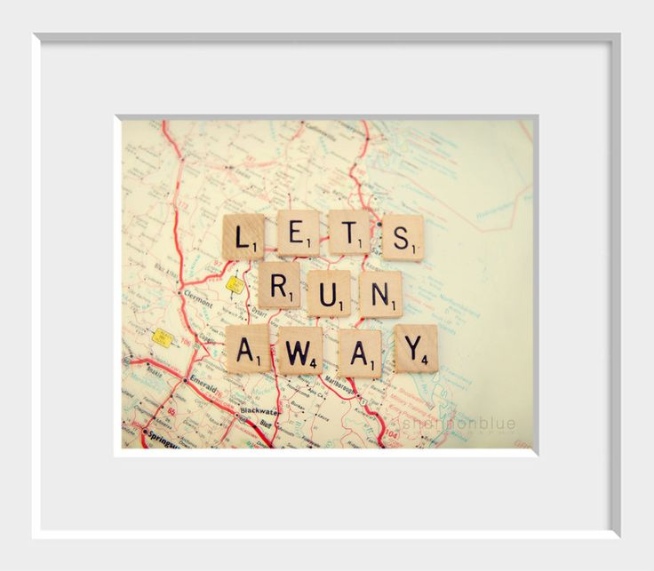 travel photograph / map, wanderlust, adventure, escape, scrabble tiles, letters / lets run away / 8x 10 fine art photo. $28.00, via Etsy. | Map gallery wall