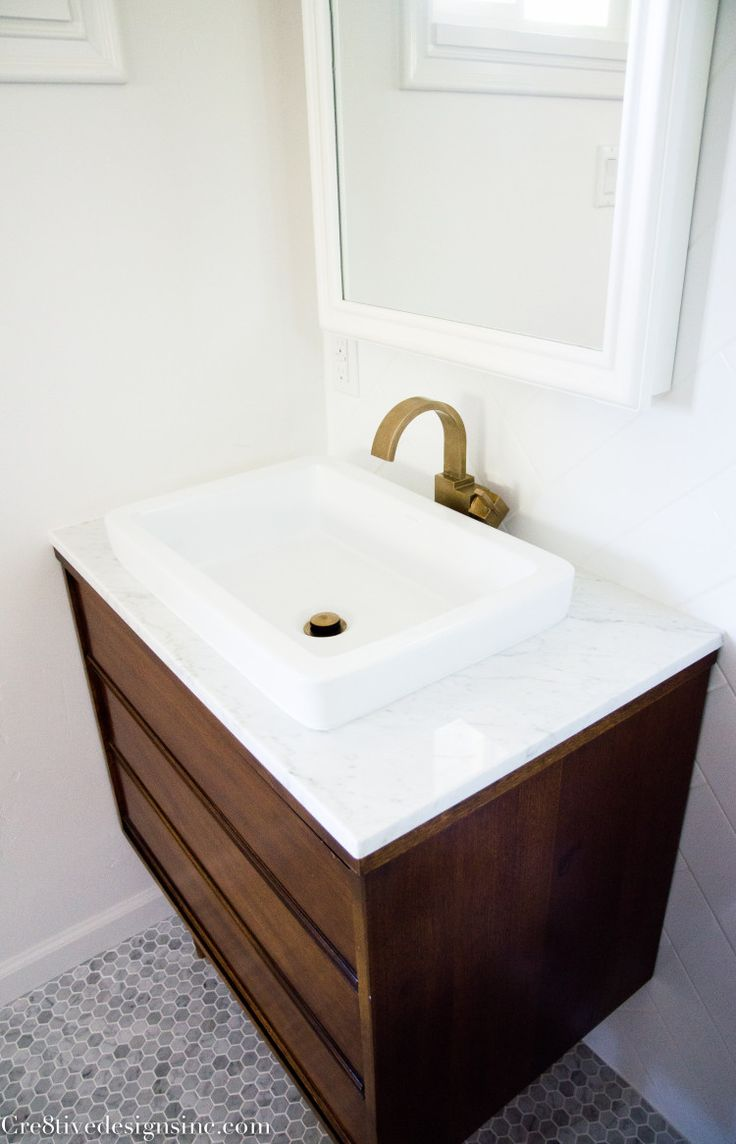 Modern bathroom sinks - If We Can T Find A Suitable One Piece Vanity Top Two Shallower Mid Century Modern Bathroommodern Bathroom