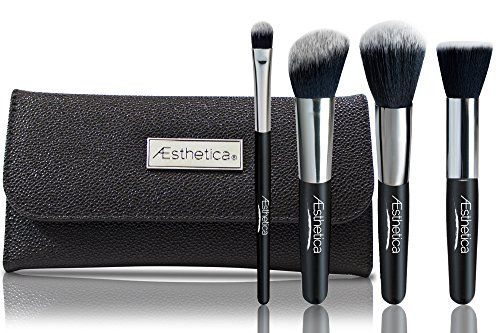 Aesthetica Cosmetics 4-Piece Premium Synthetic Contour and Highlight Makeup Brush Set for Powder, Foundation, Blending, Contouring and Highlighting Includes Carry Case- Vegan and Cruelty Free * Check this useful article by going to the link at the image. #MakeupContouring