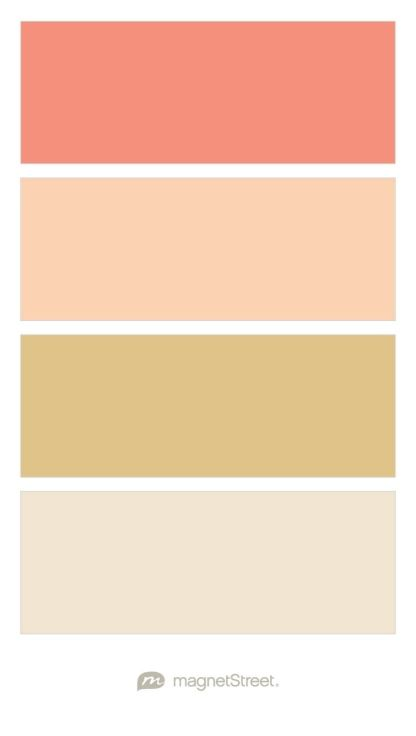 Coral, Peach, Gold, and Champagne Wedding Color Palette - custom color palette created at MagnetStreet.com