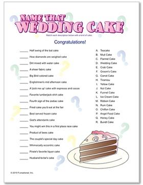 name that wedding cake bridal shower game