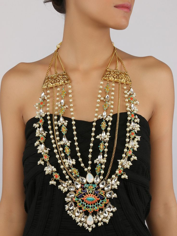Peahen Jewels - Ranihaar with Pearls and Stone Necklace