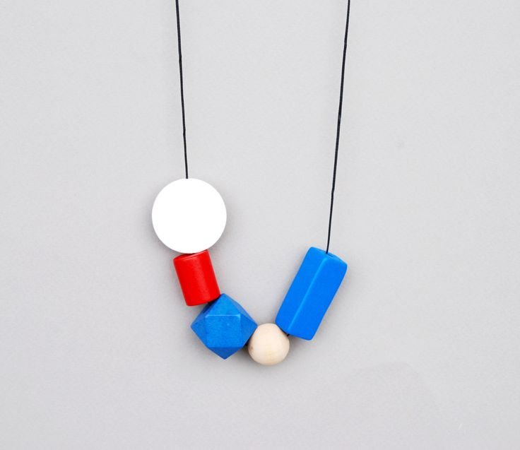 Navy Necklace, Blue And Red Necklace, Geometric Wood Necklace, Long Wood Necklace, Bold Beads, Statement by JullMade on Etsy