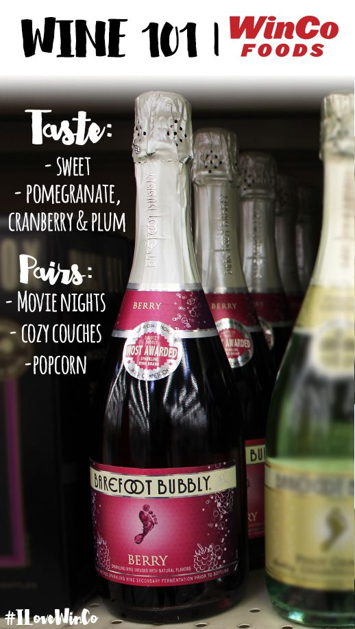 LOVE BAREFOOT BUBBLY WINE and from Winco. Great price!!! Wine 101   Barefoot Bubbly Berry Wine @barefootwine