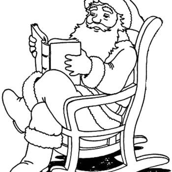 Santa Claus Reading Book Coloring Pages