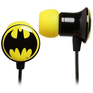 Holy ear-aches, Batman! These ear-buds also come in Superman, Wonder Woman, Green Lantern, and the Flash. I'm wanna get 'em all!!!
