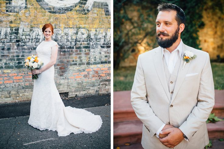 A clean, khakis suit, a stunning white dress and beautiful flowers || Carley Calico & Jesse Morrison