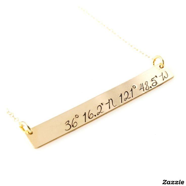 Custom Coordinates Gold Filled Bar Necklace