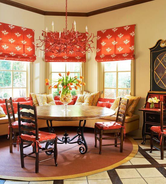 Fabric FocusDining Room, Warm Colors, Romans Shades, Breakfast Nooks, Windows Seats, Colors Schemes, Breakfast Room, Windows Shades, Windows Treatments