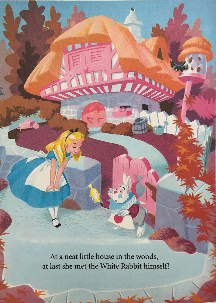 Alice in wonderland book little golden book illustration