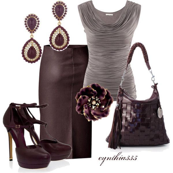 I'm digging everything but not sure about the plum leather skirt. It's growing on me though, lol. :)