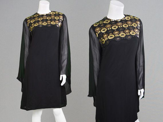 Vintage 60s Dress FRANK USHER Black Silk Chiffon by ZeusVintage