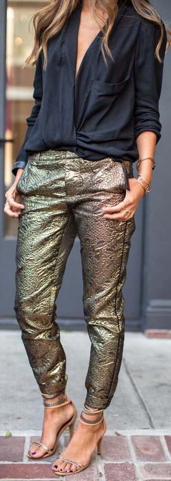 Beautiful Golden Pants with Black Top, visit us for more details.