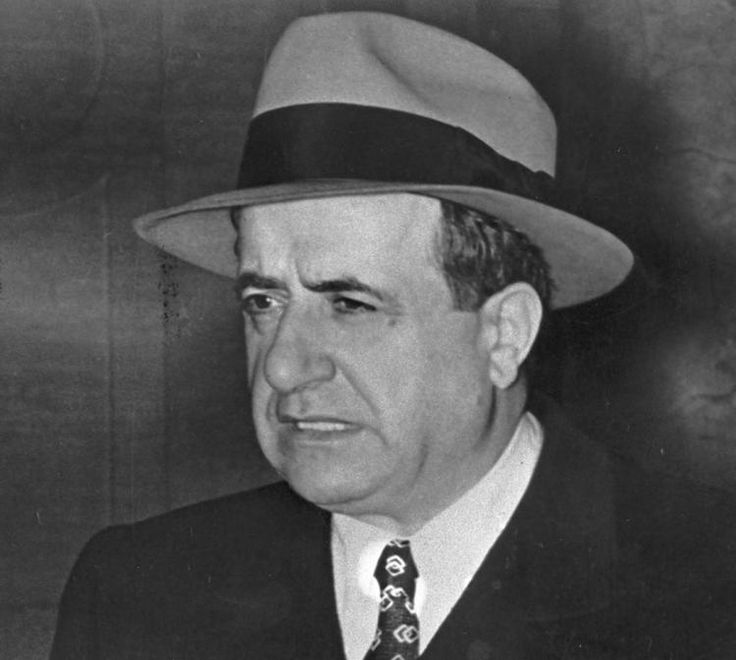 "1954 photo of mob boss Albert Anastasia. He was the chief executioner of the one-time murder Inc., ring. Rap star Rick Ross dedicated his album ""Albert Anastasia EP"" to the notorious mafia boss."