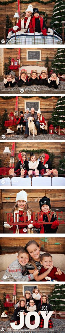 Adorable vintage stylized Christmas Session with couch, chair, iron bed, and props. Photography by Pink Antler Photography. Props by Orange Trunk Vintage Styling and Rentals.