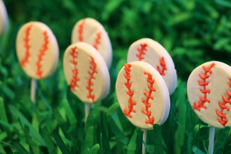 Cookie pops at a baseball birthday party! See more party ideas at CatchMyParty.com!