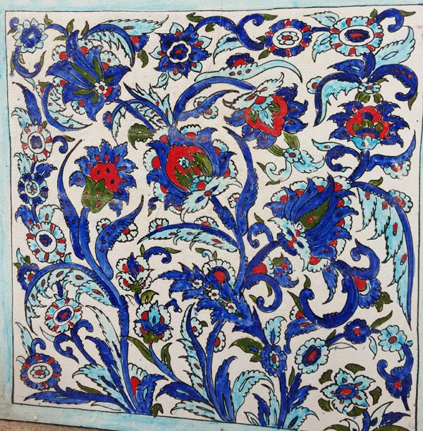 "Hand made Syrian iznik tile. Damascus is a very old city; all these ancient souk and houses have several hundreds of years. This city is known by this ancient houses called ""Hawsh"". These are often houses of two floors. With a lot of room around an internal courtyard opened to the sky, it is the …"