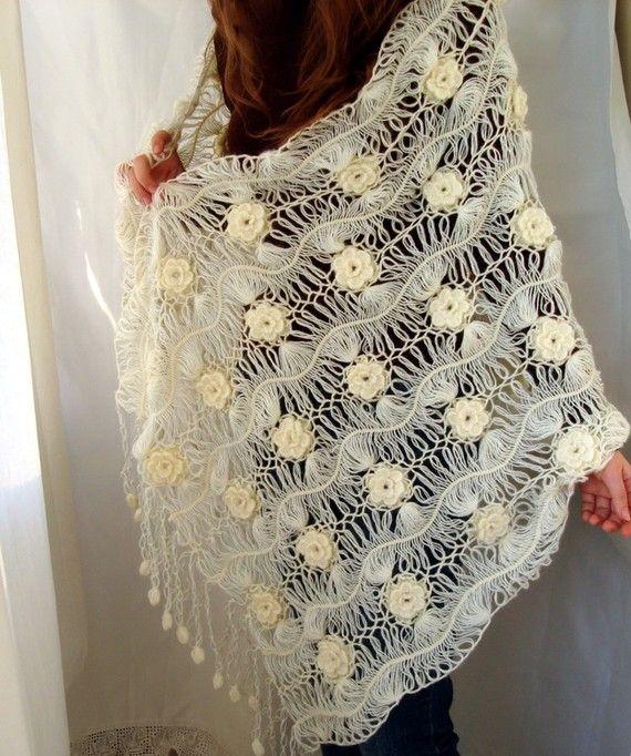 Cream Rectangle Bridal Lacy Shawl Floral Wrap by boutiqueseragun, $90.00