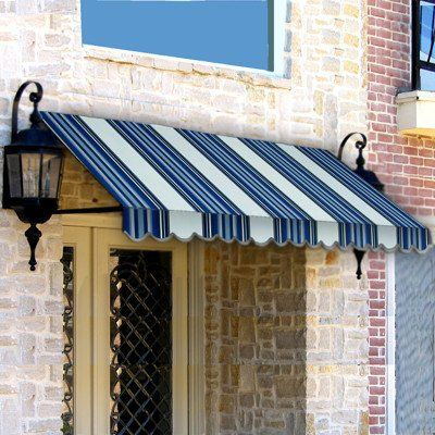 Awntech Dallas Retro Window Entry Awning 44 By Navy Gray White Blue