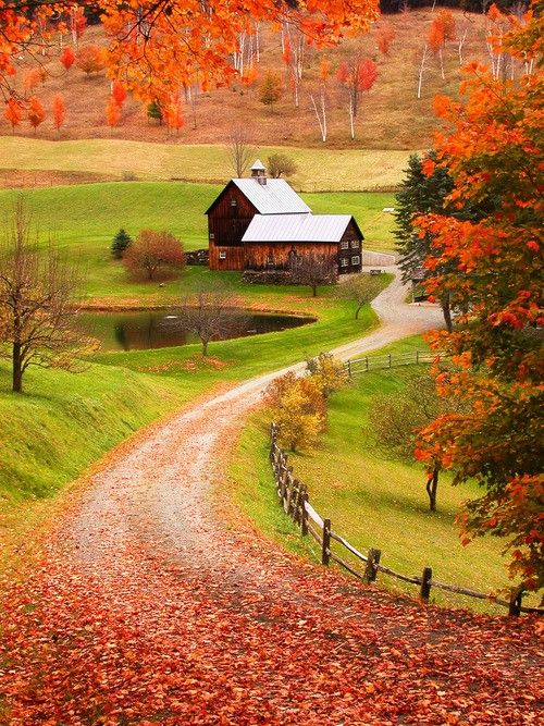 .Country Roads, Fall Colors, New England, Autumn, Farms, I Love Fall, Country Home, Sleepy Hollow, Woodstock Vermont