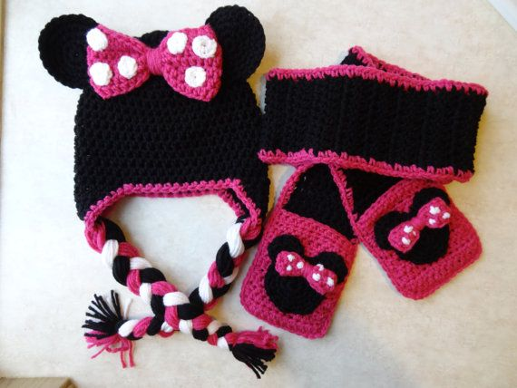 Mini Mouse inspired hat scarf mitten set. by PennysCrochetCloset