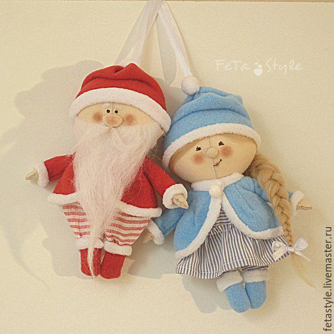 Купить Дед Мороз и Снегурка Текстильные куклы - подвески - Новый Год, новогодний подарок