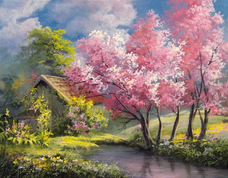 spring landscape paintings painting acrylic season tree a3 pink stunning