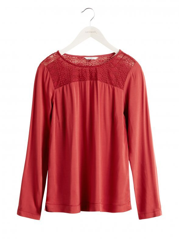 Kanten blouse - Stone Red