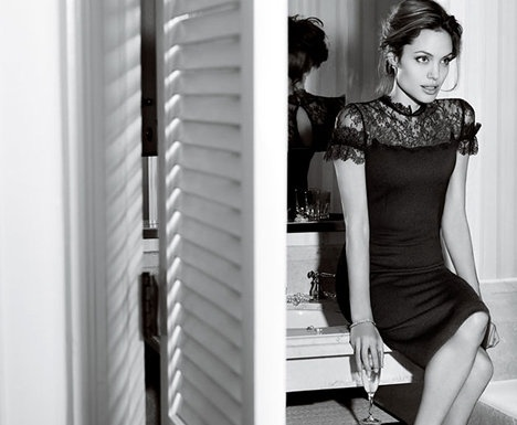 *Lace *Black *Dress *Angelina jolie *Chic