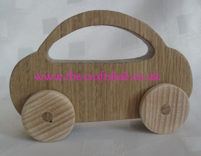 Hand Crafted SOLID WOODEN PUSH ALONG CAR TOY Gorgeous suitable from 6months £4.99