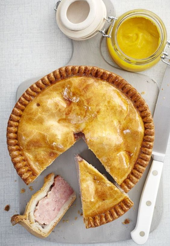 "PORK PIE aka PORKIE PIE aka PORKIE ~~~ recipe gateway: this post's link AND http://www.seriouseats.com/recipes/2012/05/pork-pie-british-savory-pie-how-to-make-recipe.html AND the famous history-making british ""standard"" MELTON MOWBRAY PORK PIE recipe can be found at http://www.bbc.co.uk/food/recipes/meltonmowbrayporkpie_92224 [olivemagazine] [seriouseats] [bbc] [The Hairy Bikers]"