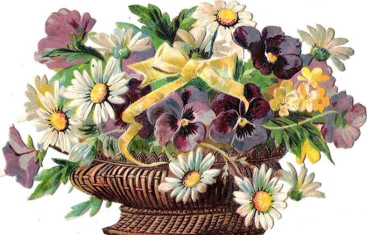 Oblaten Glanzbild scrap die cut chromo Blumen Korb 14,5 cm flower basket fleur