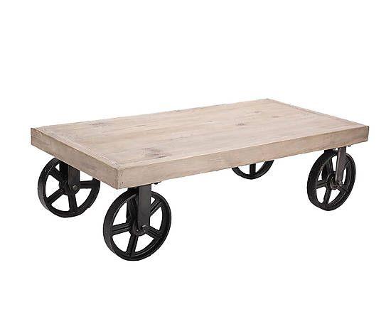 Mesa de centro con ruedas en madera de pino
