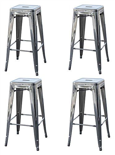 30 In Metal Barstool In Silver Set Of 4 Kitchen Metal Bar