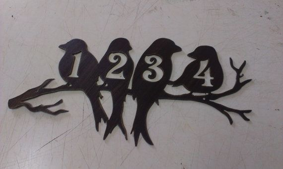 cool! Perched Birds House Number Address Metal Sign, Wall decor, Metal Art,  I can add up to 4 numbers.  Cut from 16 gauge steel.  It will last a lifetime!