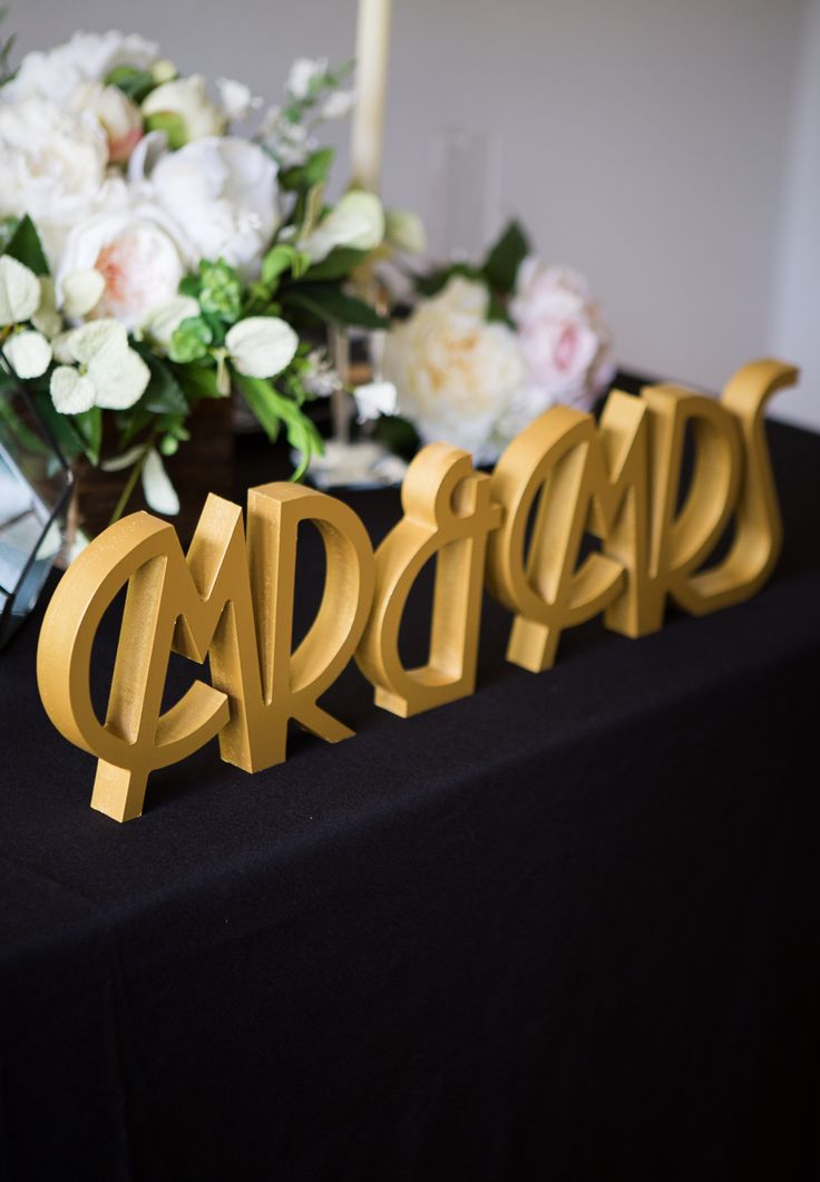 Find Your Wedding Style - Great Gatsby Inspired Wedding Decor for the Perfect Art Deco Theme // Mr & Mrs Table Signs by www.ZCreateDesign.com or Shop on Etsy by Clicking Pin