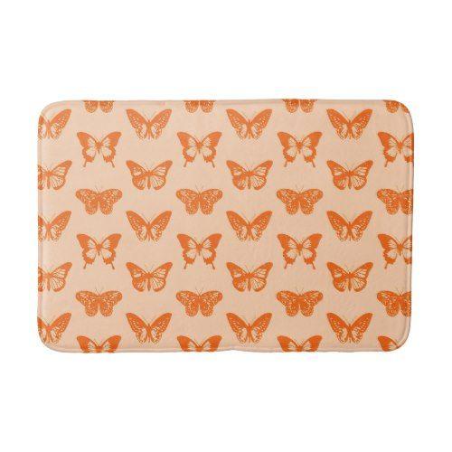 Butterfly sketch, coral orange bath mat