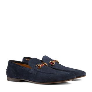 Horsebit suede loafer with Web
