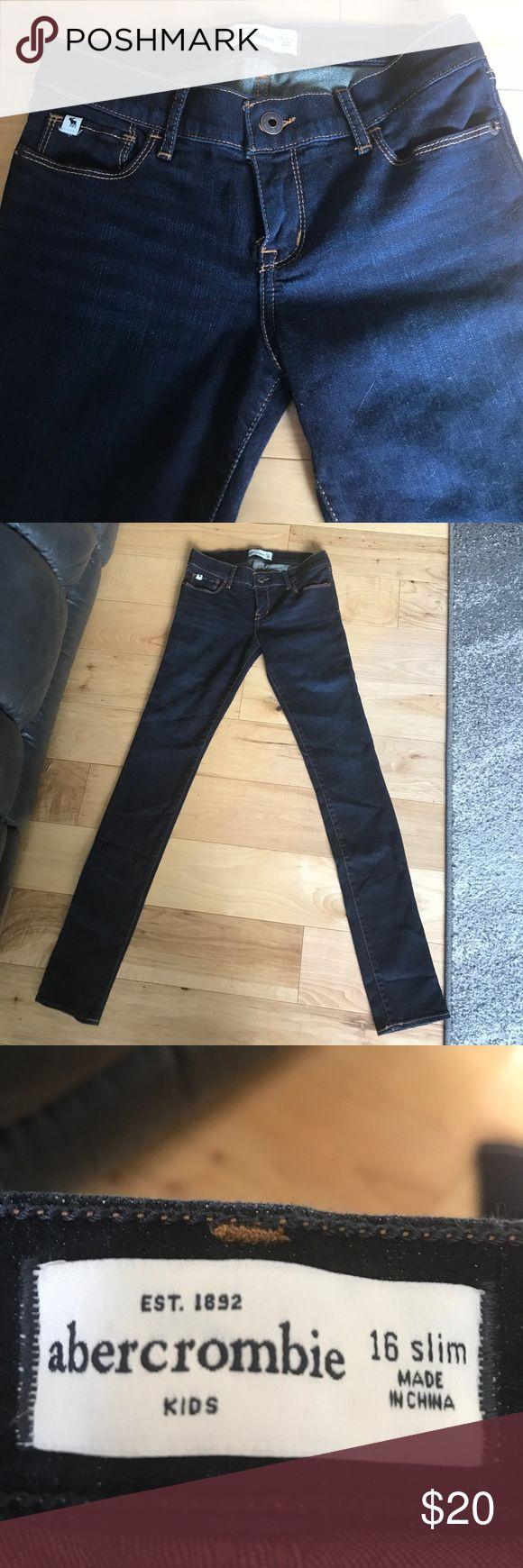 NWT Girls Abercrombie jeans NWT Abercrombie jeans.  Girls, dark wash, skinny fit, size 16S abercrombie kids Bottoms Jeans