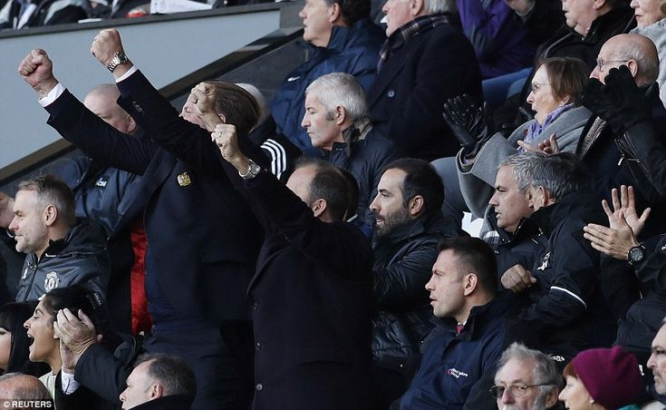 Manchester United chief Ed Woodward throws his hand in the air following Pogba's goal while Jose Mourinho stays cool
