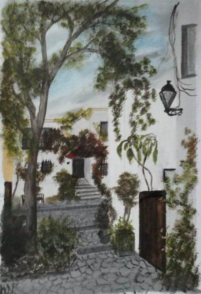 oil on paper. Bulgarian dwellings